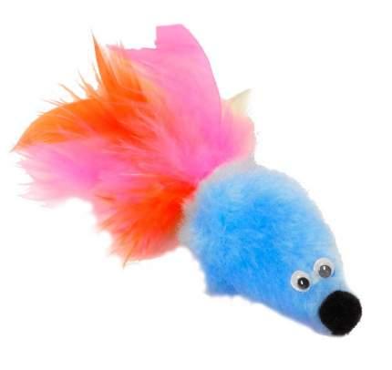 Игрушка для кошек Gosi Мышь с мятой, голубой мех с хвостом из пера