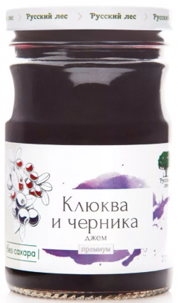 Джем Русский лес клюква и черника премиум 220 г