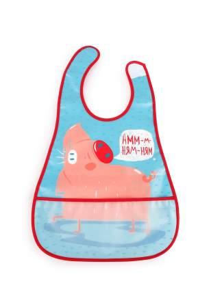 Водонепроницаемый нагрудник с кармашком Happy Baby WATERPROOF BABY BIB Blue (pig)