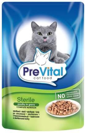 Влажный корм для кошек PreVital Classic, домашняя птица, 100г