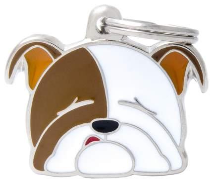 Адресник на ошейник для собак My Family Colors Английский бульдог, средний, 3,3х2,3 см
