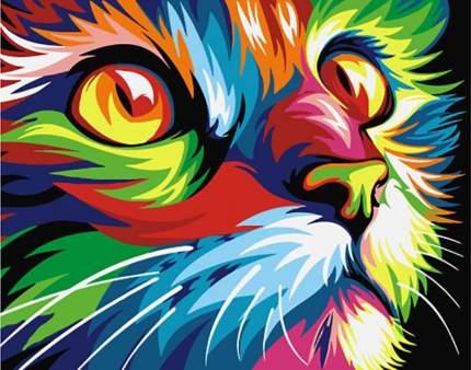 Картина по номерам Артвентура Радужный кот, 16,5x13 см