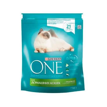 Сухой корм для кошек Purina One, для домашних, индейка, цельные злаки, 0,75кг