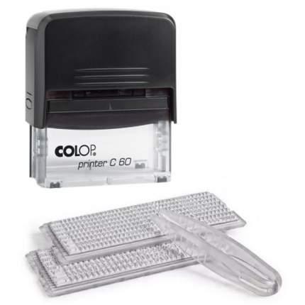 Штамп самонаборный Colop Printer C60 SET-F РУС с рамкой. 2 кассы. 8 строк. Поле: 76х37 мм.