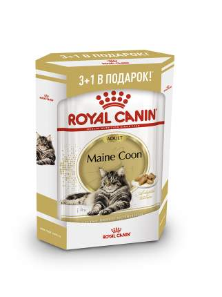 Влажный корм для кошек ROYAL CANIN Maine Coon Adult, мясо, 3+1шт, 85 г