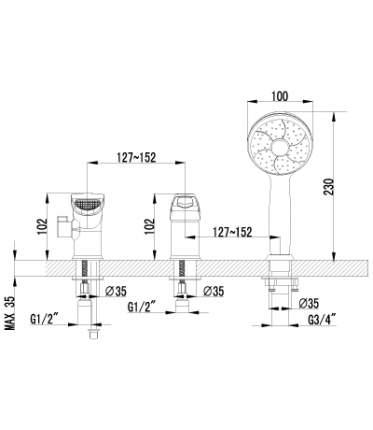 Смеситель для ванны на борт LEMARK Omega LM3145C хром