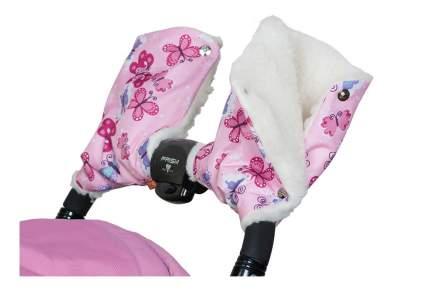 Муфта для рук мамы на детскую коляску Чудо-Чадо Меховые бабочки