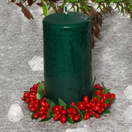 Свеча столбик 125*60 мм, темно-зеленая 079605