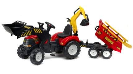 Трактор экскаватор Falk педальный с прицепом красный 225 см FAL 1002WH