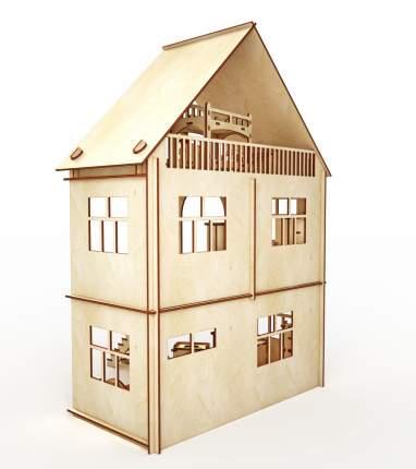 Конструктор-кукольный домик ХэппиДом Коттедж с мебелью из дерева