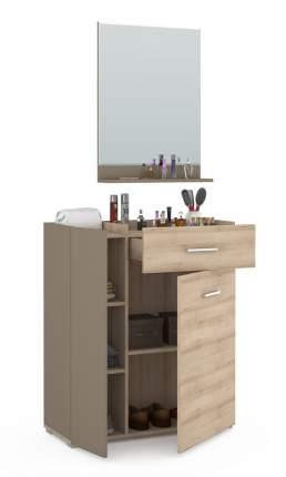 Mobi Чили Прихожая 1, комод + зеркало бук песочный/латте, 83х35х191 см. универс.сборка