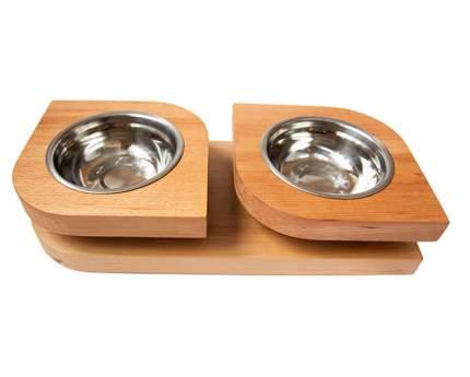 Двойная миска на подставке из бука BEDFOR для небольших собак, крупных кошек Bloom S, беж