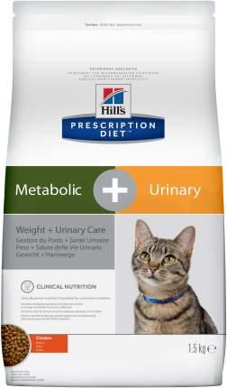 Сухой корм для кошек Hill's Prescription Diet Metabolic+Urinary, курица, 1,5кг