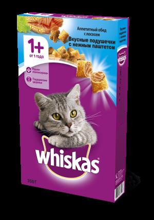 Сухой корм для кошек Whiskas, подушечки с паштетом, с лососем, 0,35г