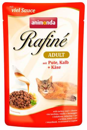 Влажный корм для кошек Animonda Rafine Soupe Adult, индейка, телятина и сыр, 100г