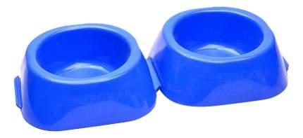 Двойная миска для кошек и собак Сибирская кошка, пластик, синий, 2 шт по 0.23 л