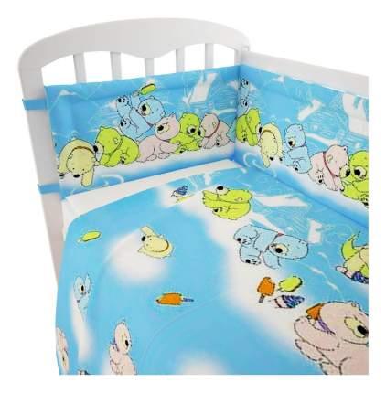 Комплект детского постельного белья Мишки голубой Polini 3 предм.