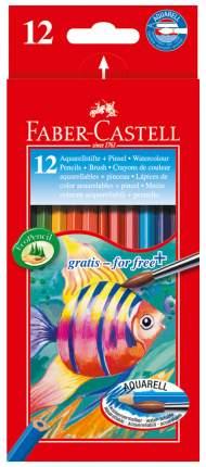 Акварельные карандаши Faber-Castell COLOUR PENCILS с кисточкой, 12 шт