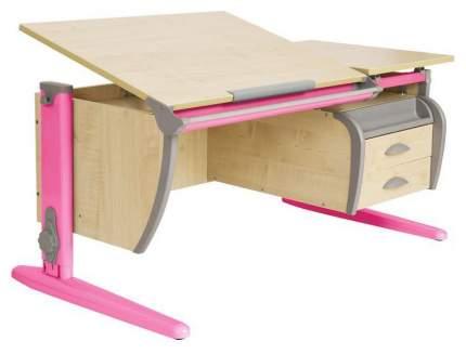 Парта Дэми СУТ 17-05 с двумя задними приставками, боковой приставкой Розовый 120 см