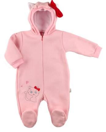 Комбинезон Baby Boom Китти с капюшоном для девочки футер с начесом Рт. 74 Розовый