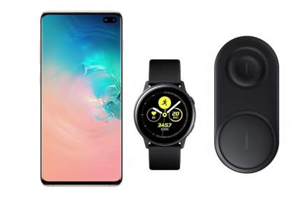 Смартфон Samsung Galaxy S10+128Gb Pearl+часы Watch Active+беспроводная зарядка EP-P5200