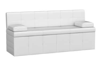 Прямой узкий кухонный диван со спальным местом Мебелико Кухонный диван Лео Экокожа белая