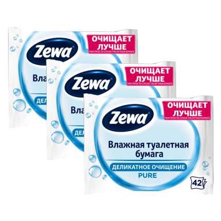 Влажная туалетная бумага Zewa Пьюр 3 уп