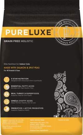 Сухой корм для кошек PureLuxe, беззерновой, для домашних, с лососем и горошком, 0,4кг