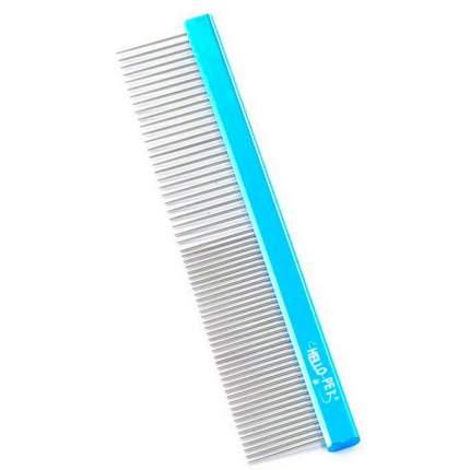 Расческа для животных Hello Pet, алюминиевая с овальной синей ручкой, 30см, зуб 3,4см