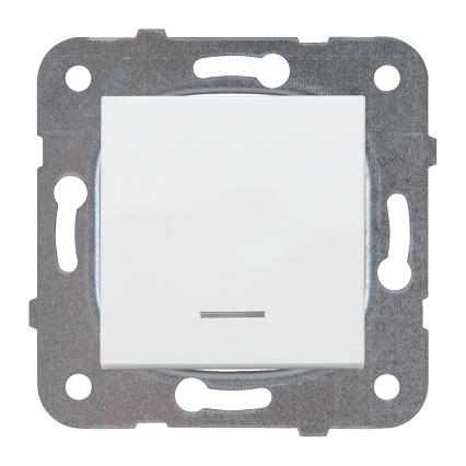 Выключатель 1кл с подсветкой белый Karre Plus