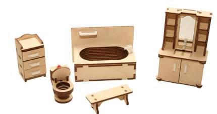 Мебель для кукольного домика ХэппиДом Ванная из дерева