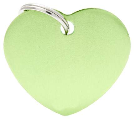 Адресник My Family Basic алюминиевый в форме сердца для кошек и собак (4 см, Зеленый)