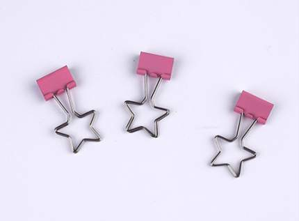 """Зажим для бумаг Coocla """"Звезда"""", розовый"""