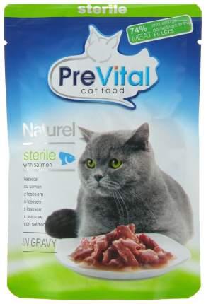 Влажный корм для кошек PreVital Naturel Sterile, с лососем в соусе, 85г