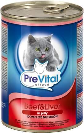 Консервы для кошек PreVital, говядина, печень, 415г