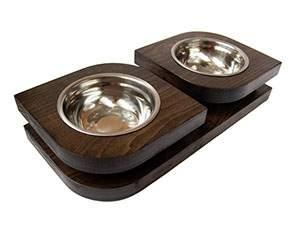 Двойная миска на подставке из бука BEDFOR для небольших собак, крупных кошек Bloom S, черн