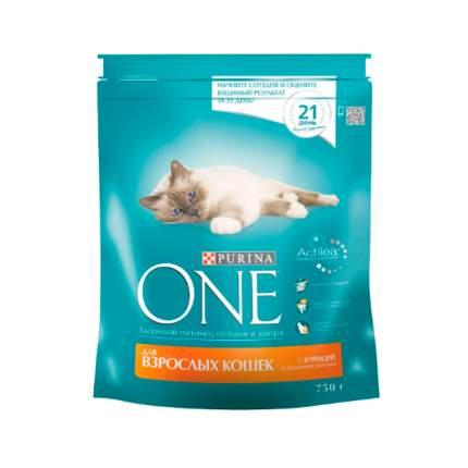 Сухой корм для кошек Purina One, для домашних, курица, цельные злаки, 0,75кг
