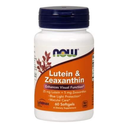 NOW Lutein Zeaxanthin (60 капсул) - комплекс антиоксидантов лютеин и зеаксантин для глаз