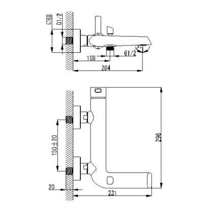 Смеситель для ванны Berholm Malme MALSB00B02 хром