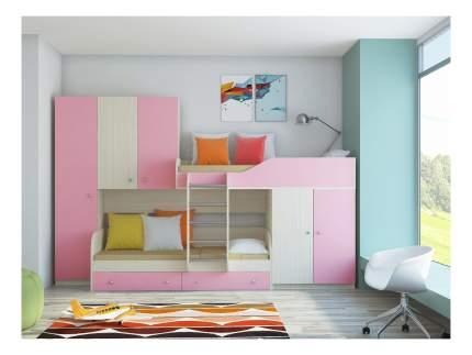 Двухъярусная кровать РВ мебель Лео дуб молочный/розовая