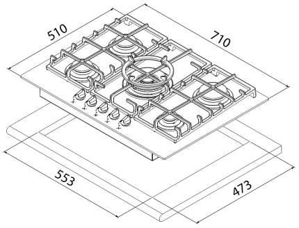 Встраиваемая варочная панель газовая TEKA CGW LUX 70 5G AI AL TR CI NAT Black
