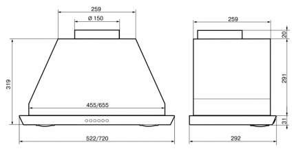 Вытяжка встраиваемая Elikor Врезной блок S4 52Н(П)-1000-Э4Д Silver