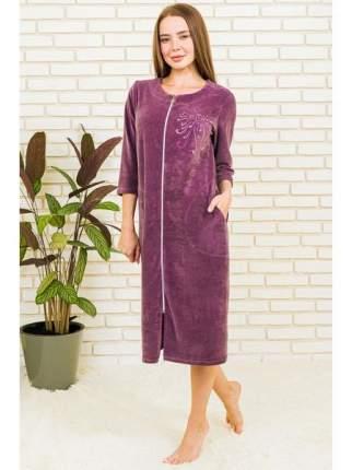 Женский велюровый халат на молнии LikaDress 6481, р.62