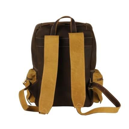 Рюкзак кожаный Bufalo BPN-18small коричневый/желтый