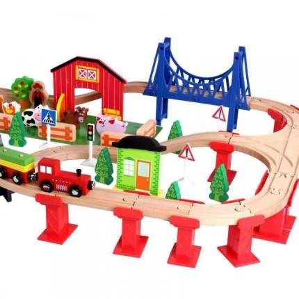 Деревянная железная дорога Animal World 82 детали