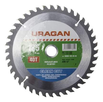 Пильный диск по дереву  Uragan 36802-185-20-40