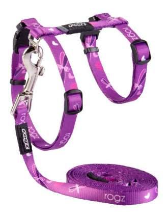 Комплект поводок и шлейка для кошек Rogz KiddyCat S-11мм 1,8 м (Фиолетовый CLJ07E)