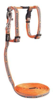 Комплект поводок и шлейка для кошек Rogz NightCat XS-8мм 1,8 м (Оранжевый CLJ208D)