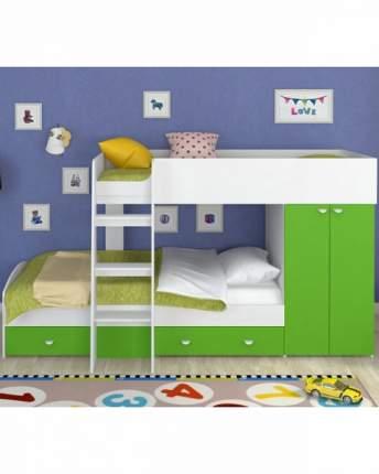 Двухъярусная кровать Golden Kids 2 белая/зеленая