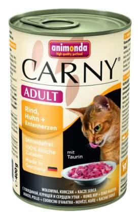 Консервы для кошек Animonda Carny Adult, с говядиной, курицей и сердцем утки, 400г